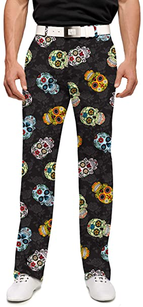 customers first rational construction new style & luxury Loudmouth Golf-StretchTech Poly-John Daly Dia De Los Muertos Colorful Sugar  Skulls Men's Pant-Tour Slit at Bottom Hem