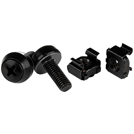 Amazon.com: StarTech.com M6 x 12mm Screws and Cage Nuts - 100 Pack - M6 Mounting Screws and Cage Nuts for Server Rack and Cabinet - Black: Computers & ...