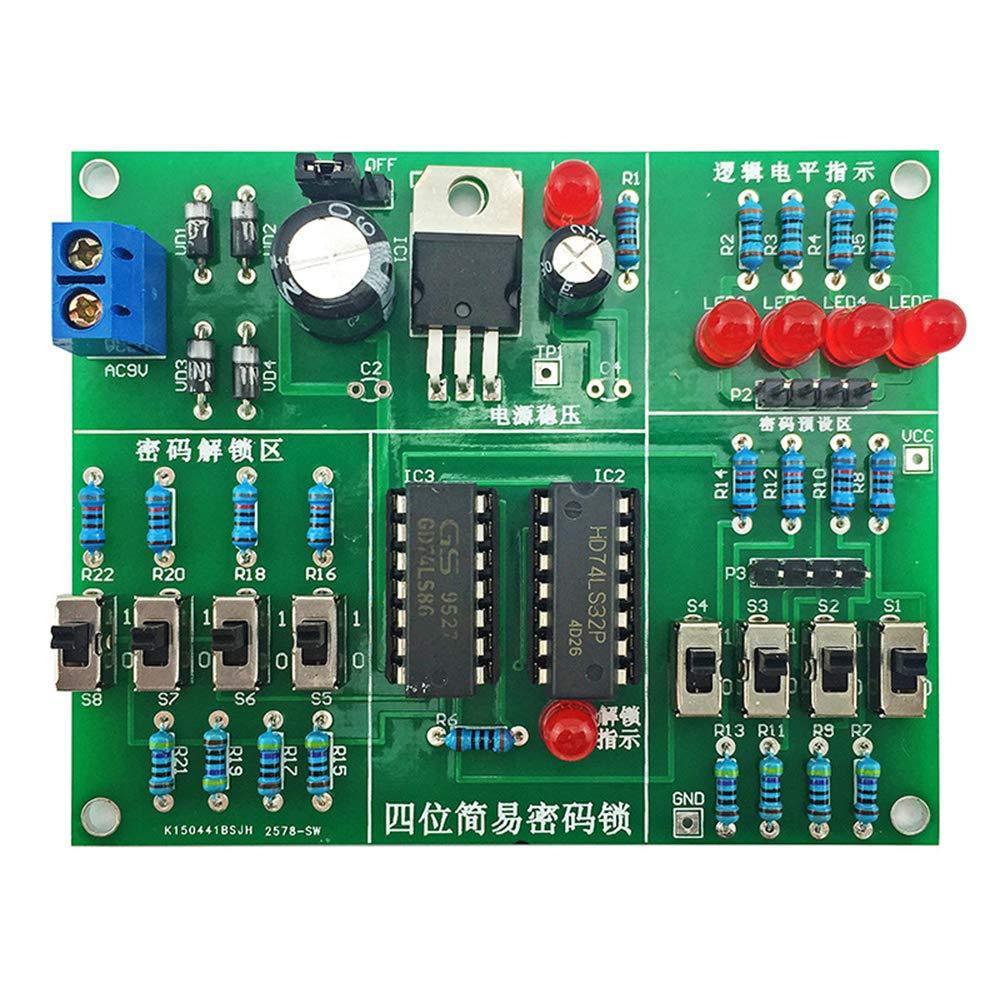 Ahmi Bloqueo de c/ódigo electr/ónico Simple DIY Kit Simple de Cuatro bits Circuito electr/ónico Kit de pr/áctica y de ense/ñanza