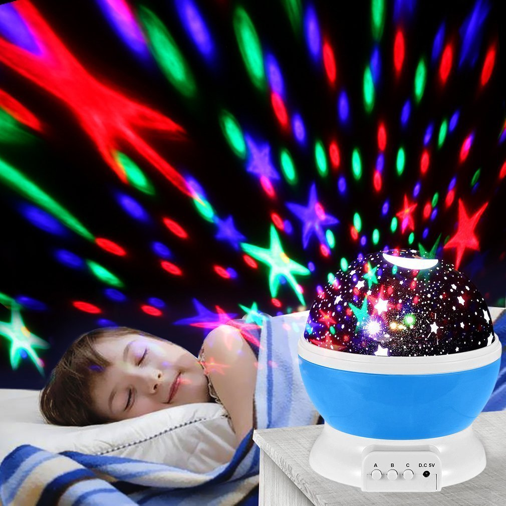 4LED 360 Degree Romantic Starry Starry Romantic Moon Sky Night Lamp Projector Kid Room Rotate ede53a