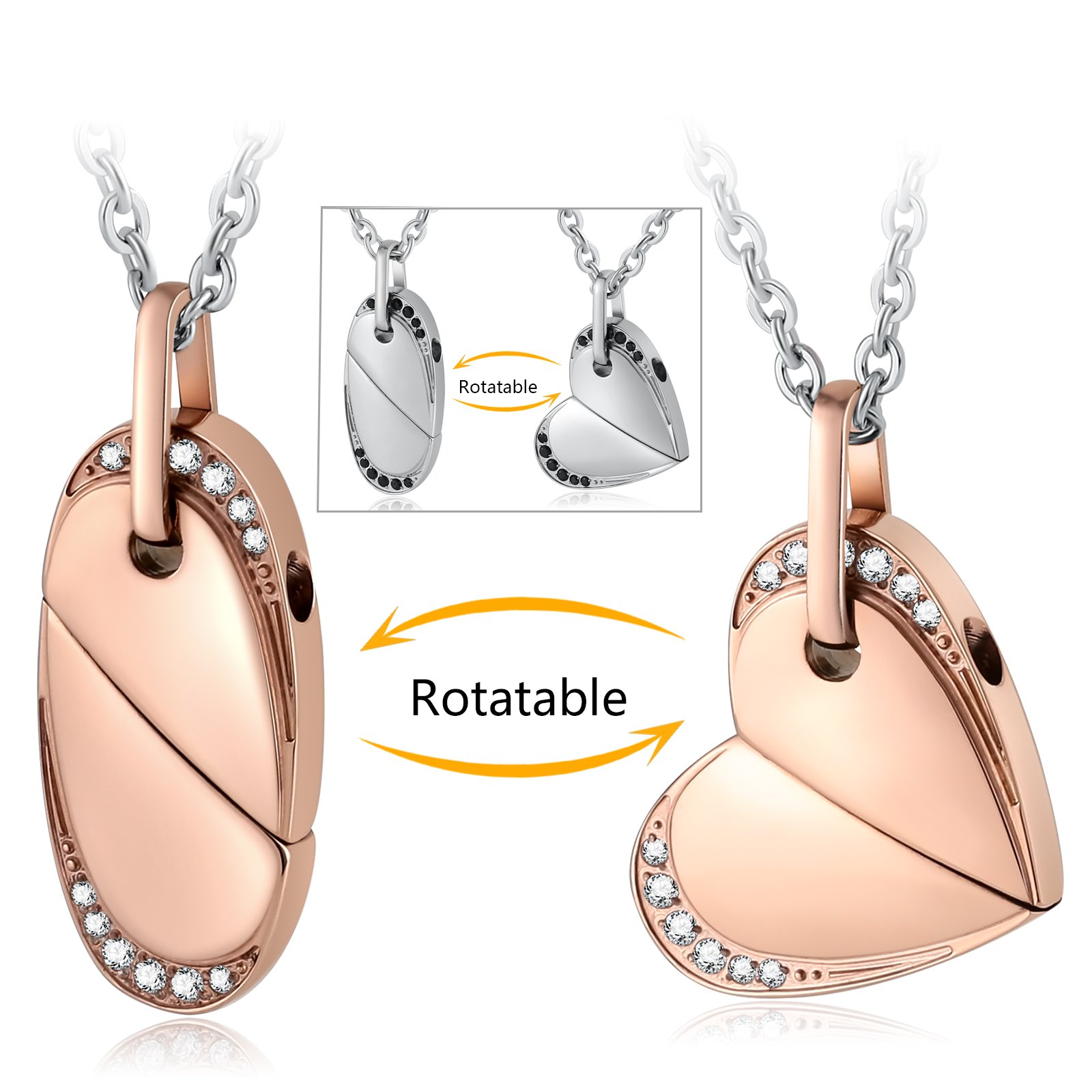 Aienid Stainless Steel Necklace for Couple Heart Move for You Rotatable Heart Pendant Necklace by Aienid (Image #3)