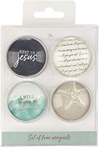 Christian Art Gifts Beach Theme Glass Refrigerator Magnets | Give You Rest - Mathew 11:28 Bible Verse | Give You Rest Collection Inspirational Fridge Magnet Set/4