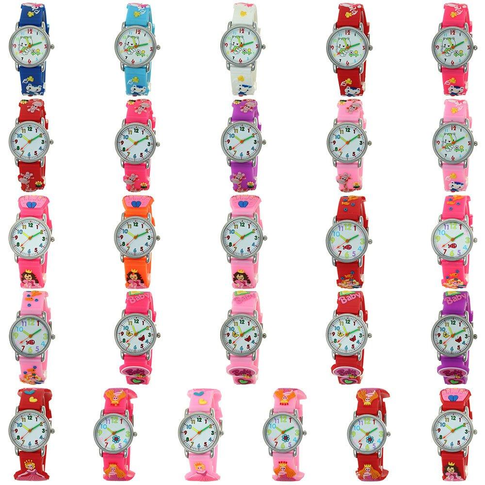 Castle Princess 3D Silicone Strap Round Case Japanese Quartz Kids Waterproof Rubber Band Arabic Numerial Dial Children Toddler Wristwatches Time Teacher Boys Girls Little Child Unisex-Children Watches by TimeMax (Image #5)