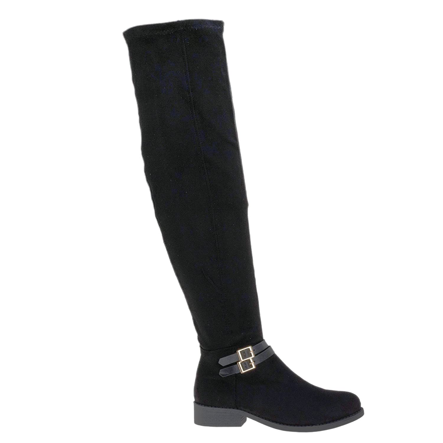 Biker / Riding Inspired Over The Knee Boots w Stack Heel & Wraparound Buckle Strap