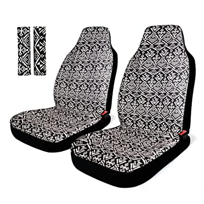 INFANZIA Baja Front Seat Covers Saddle Blanket Auto Seat Cover with Seat Belt Covers Fit Car Truck Van SUV, 4Pcs, Black & White: Automotive