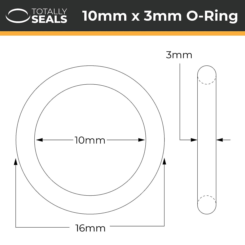 1 O-Ringe aus Nitrilkautschuk 16 mm Au/ßendurchmesser 10 mm x 3 mm Schwarz verschiedene Packungsgr/ö/ßen 70A Shore H/ärte