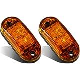 Partsam 2x Oval 2.5' Trailer Truck Amber Led Side Marker Lights Lamps 2 Diodes Surface Mount, Boat Marine LED Courtesy…