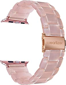 Wearlizer Compatible with Apple Watch Band 38mm 40mm Womens for iWatch SE Lightweight Pink Resin Wristbands Beauty Replacement Dressy Bracelet Strap (Metal Steel Clasp) Series 6 5 4 3 2 1 Sport