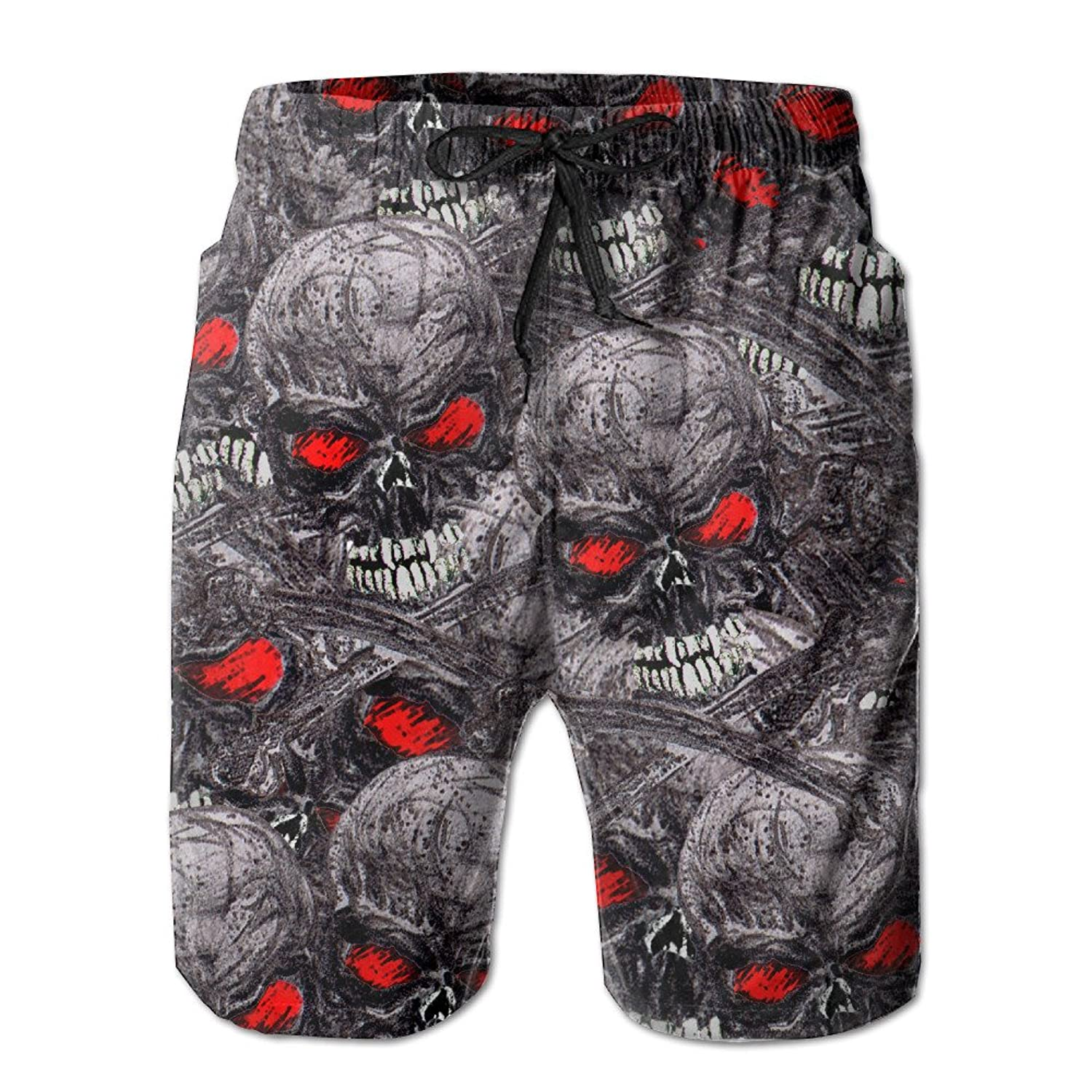 618a0d4658c3 lovely Skull Red Eyes Skeleton Men's Workout&swim Trunks Quick Dry Board  Shorts With Pockets And Drawstring
