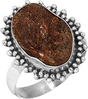 Jeweloporium Naturel Astrophyllite Druzy Unique Bijoux Solide 925 Sterling Silver Bague Taille 60.25