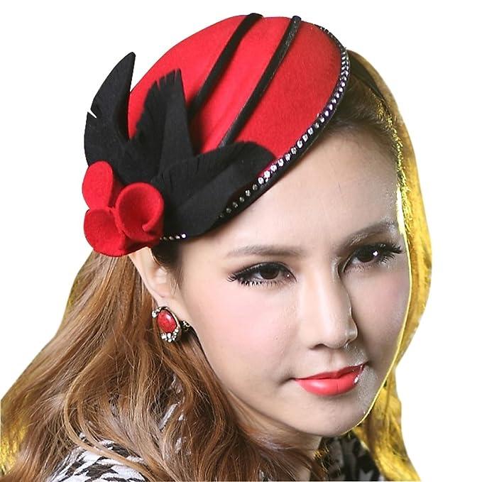 June s Young Tocado Diadema Clip de Estilo Retro para Mujer Sombrero Fieltro  Vincha para Señoras Rojo 27b74f03ac9