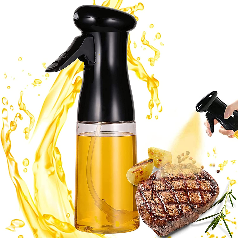 Oil Sprayer for Cooking, 7Oz/200ML Olive Oil Dispenser Mister Bottle, Refillable Kitchen Vinegar Spritzer Plastic Sprayer for Air Fryer BBQ/Salad/Baking/Roasting/Grilling