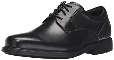 Rockport Men's Charles Road Plain Toe Oxford Black Leather 6.5 W (EE)-6.5