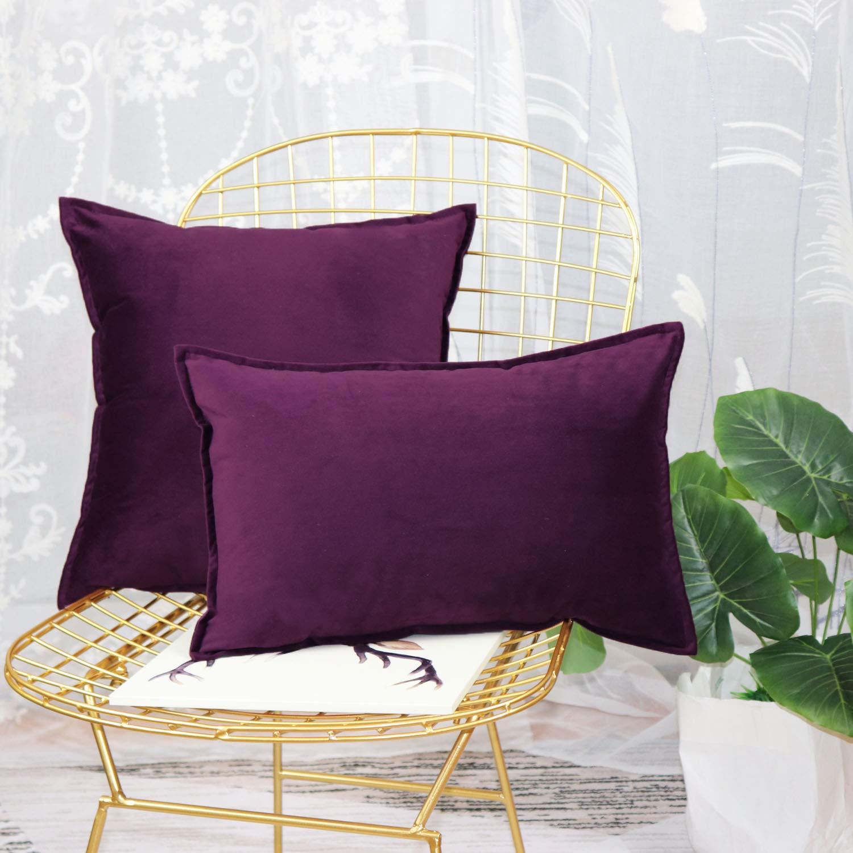 Original Pro Throw Pillow Covers Velvet Soft Soild Square Pillow Cover Throw Cushion Case Decorative Pillowcase for Sofa Bedroom Car 18 x 18 Inch Black