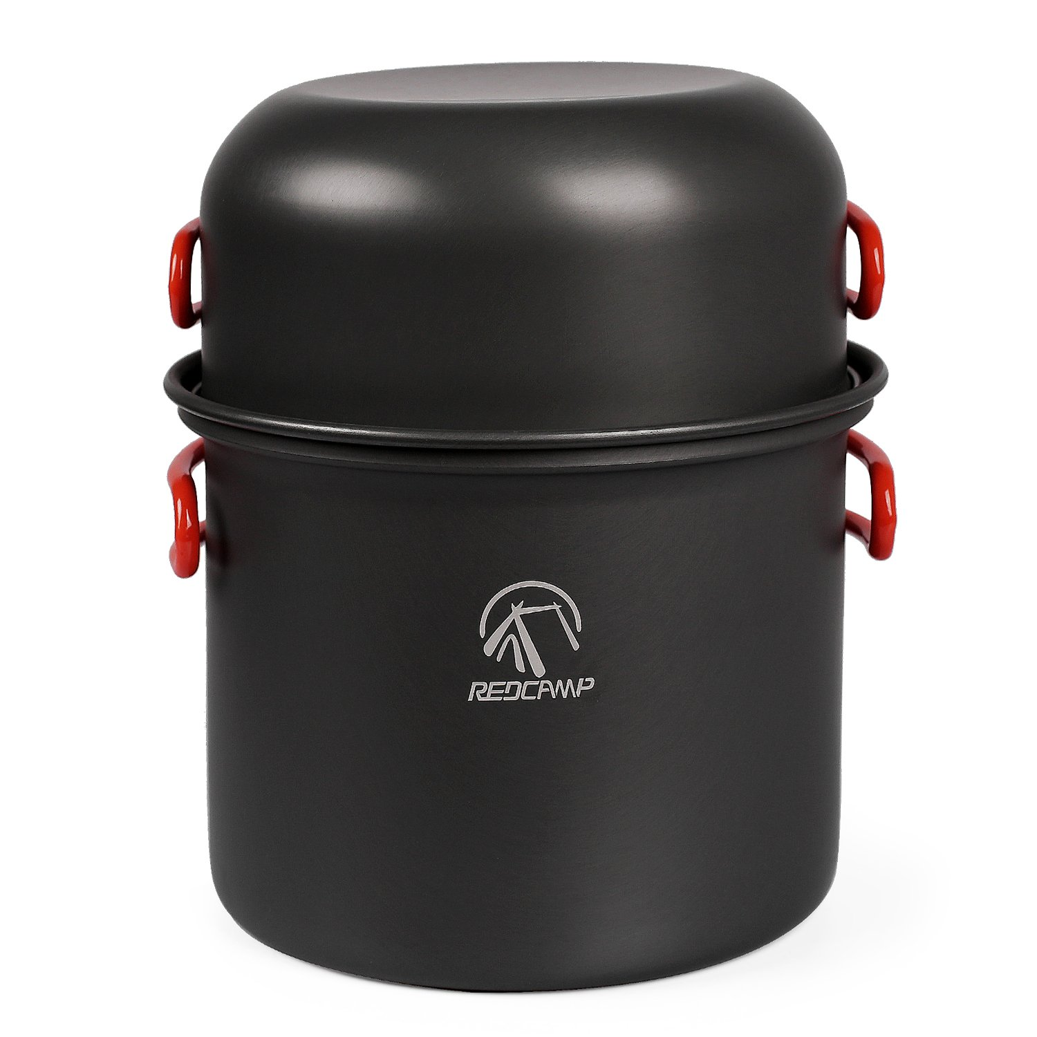 REDCAMP 9/12/18/23 PCS Camping Cookware Mess Kit, Aluminum Lightweight Folding Camping Pots and Pans Set for 1/2/3/4 Person, FDA Approved