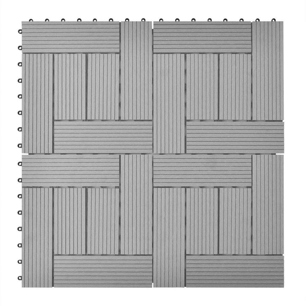 Daonanba Durable 11 pcs 11.8''x11.8'' Decking Tiles WPC 11 ft² Gray Suitable for Patio/Balconies/Bathroom/Poor Spa Area