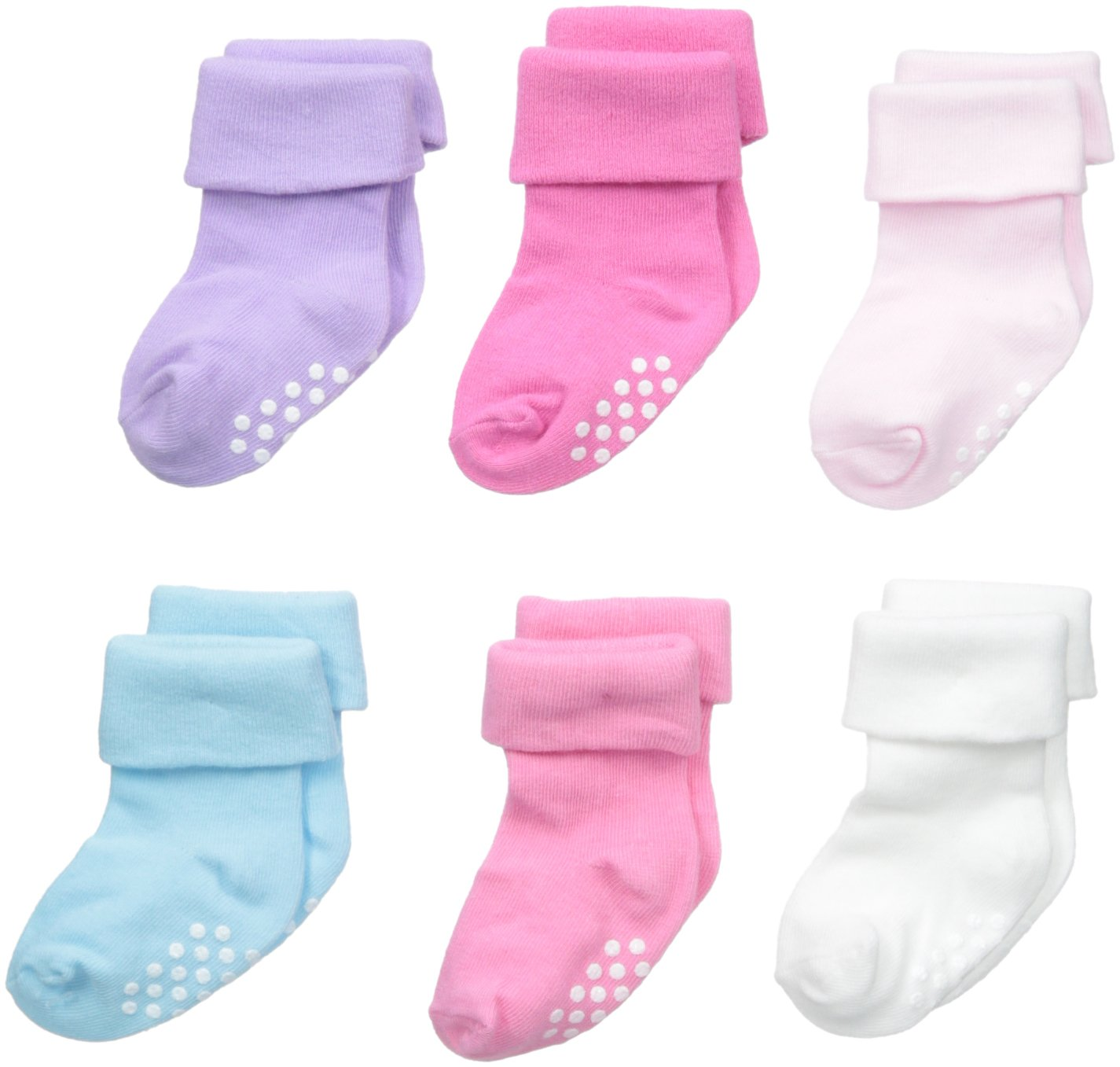 Jefferies Socks Unisex-Baby Non-Skid Turn Cuff 6 Pair Pack, Girl Multi, Toddler