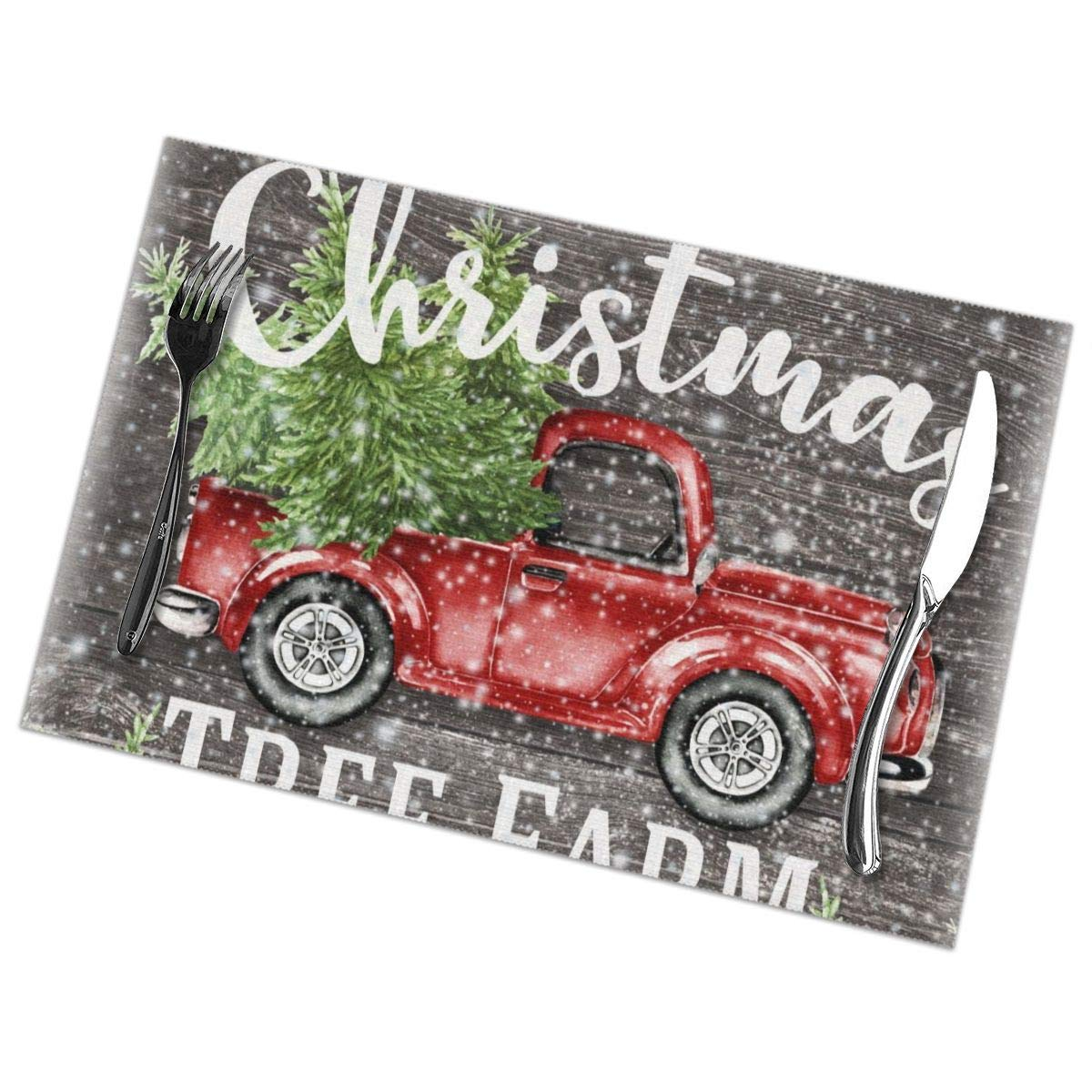 Vintage Red Truck Christmas Placemats.Amazon Com Pullan Eudora Red Vintage Truck Christmas Tree