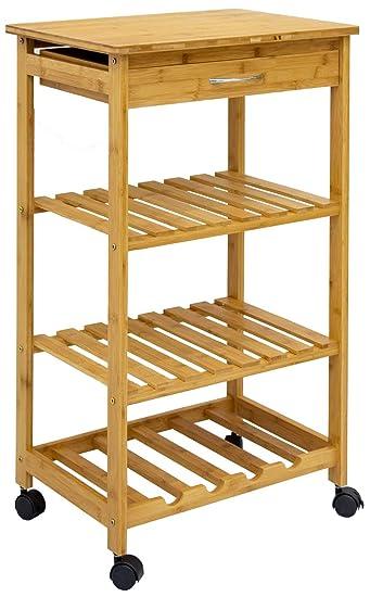 Dunedesign Bambus Kuchenwagen 50x37x85 Servierwagen Holz