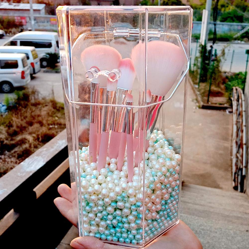 234b9b65bdfd Amazon.com: iHomei Acrylic makeup brush holder bucket with pearls ...