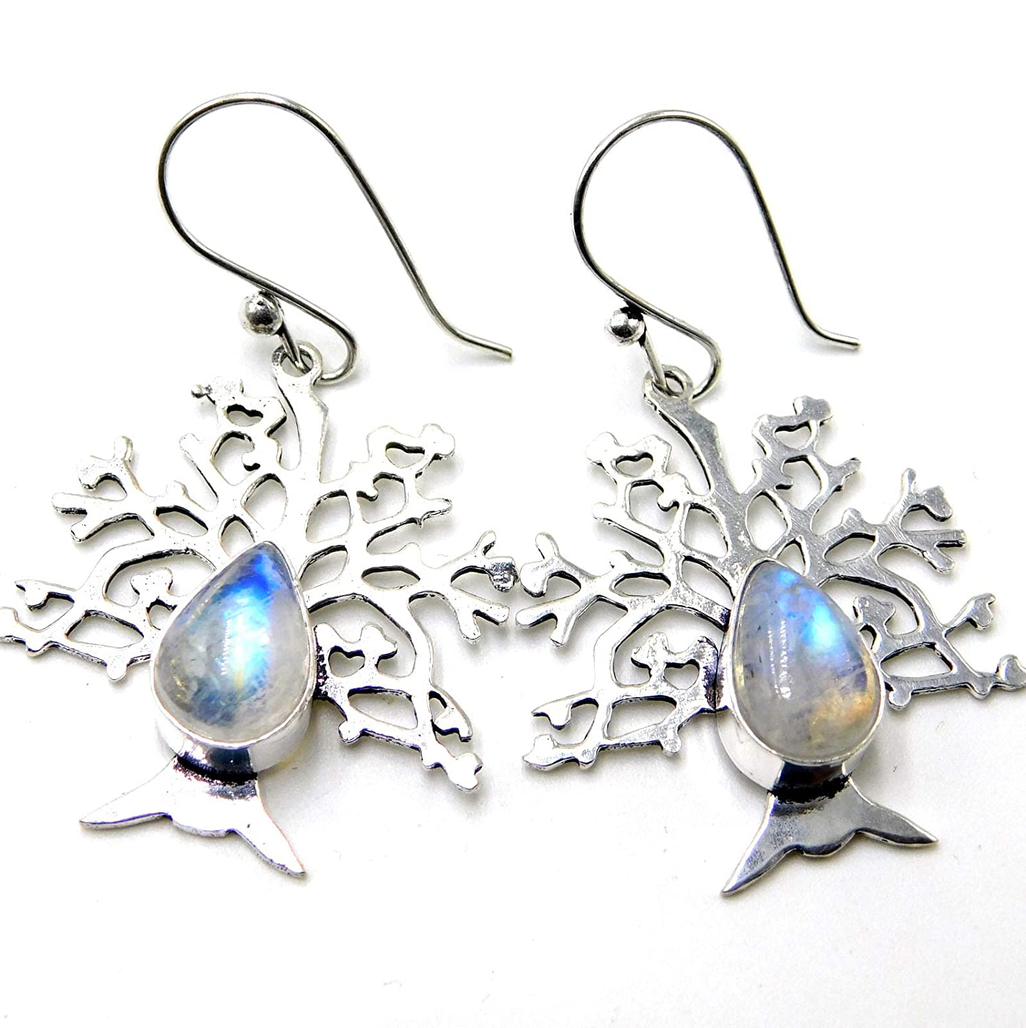 Rainbow Moonstone Tree Leaf Jewelry 925 Sterling Silver Plated Handmade Earrings 7 Gm