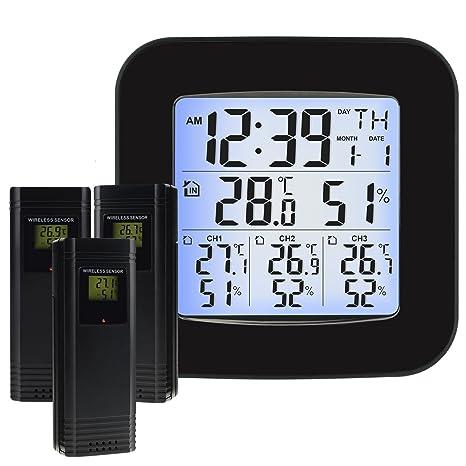 Estación meteorológica inalámbrica con 3 sensores exteriores Inalámbrico, reloj, alarma, temperatura, humedad, fácil de leer Pantalla con ...