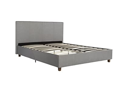 Amazon.com: DHP Maddie Upholstered Platform Bed Frame, Grey Linen ...