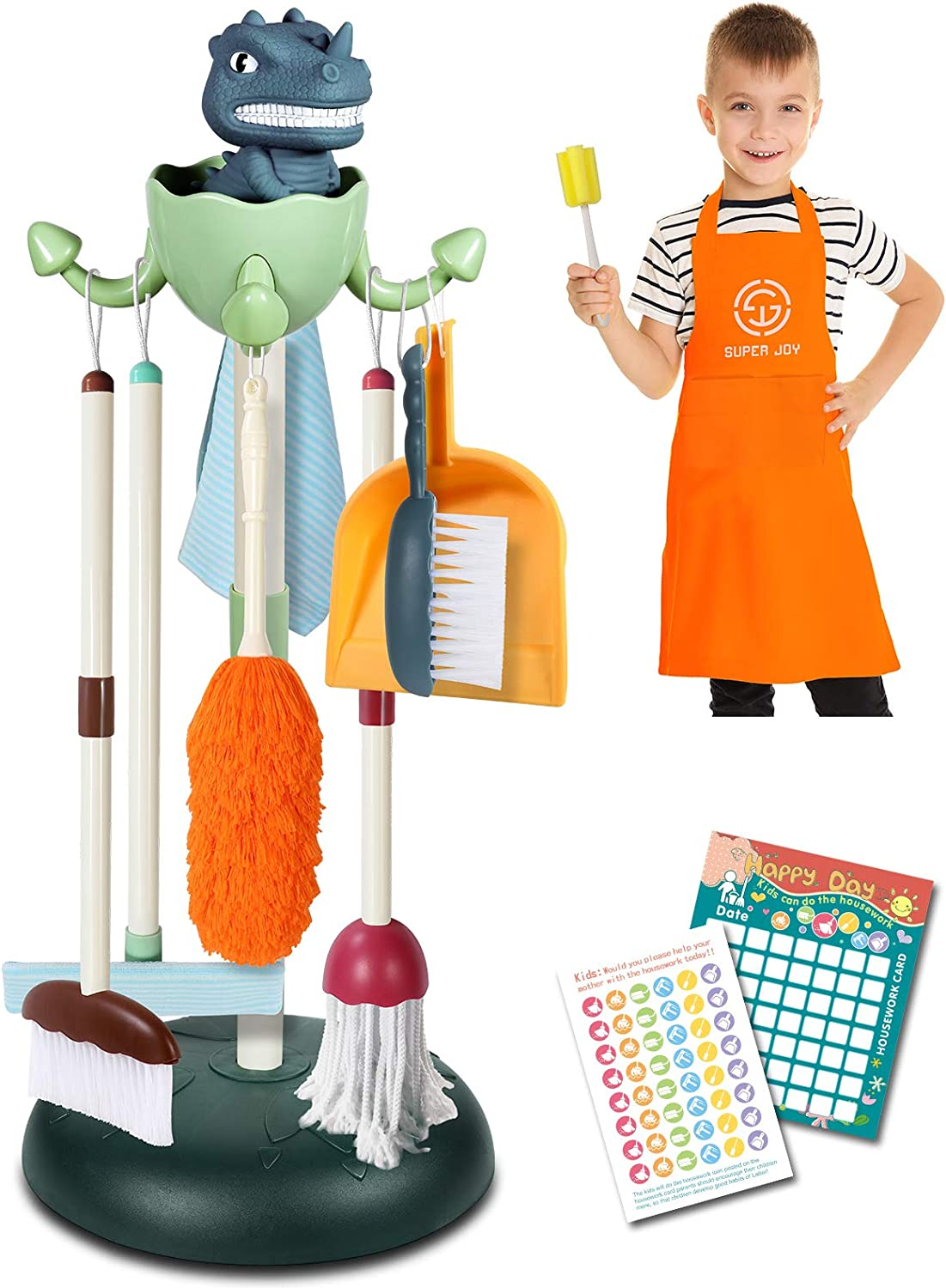 Kids Dinosaur Cleaning Set Toys 10PCS - Toddler Detachable Kid-Sized Housekeeping Pretend Play Stuff Include Mop,Broom,Dustpan,Brush,Duster,Cup Brush,Dish Cloth,Children's Apron,Housework Cards