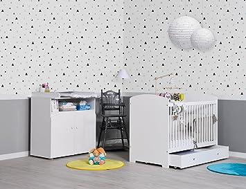 JURASSIEN - Petite chambre bébé avec commode à langer IRIS blanche ...