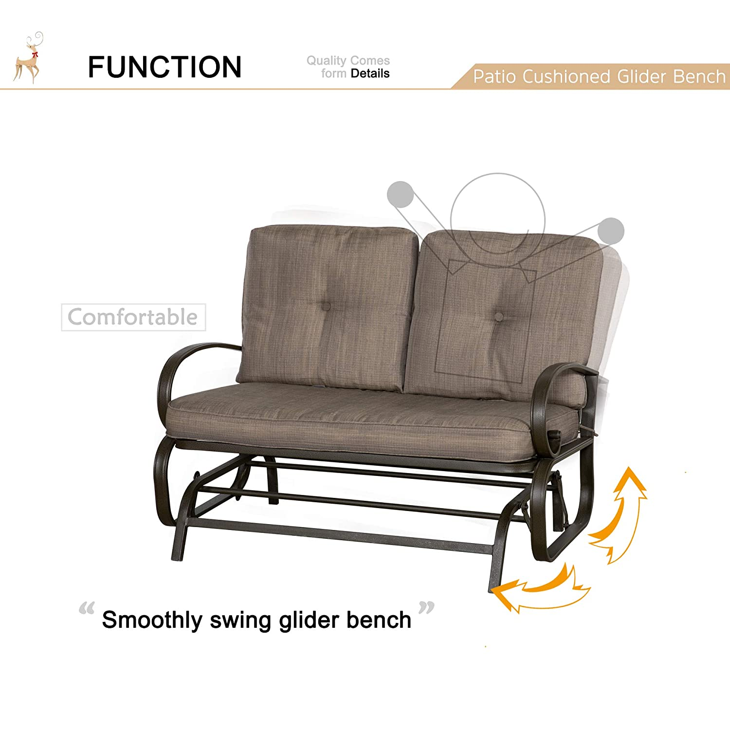 Wilcum patio loveseat patio glider outdoor loveseat furniture outdoor glider bench modern indoor outdoor furniture patio furniture sets cushioned chair
