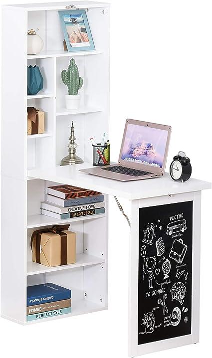 HOMCOM Escritorio Plegable con Estantería Mesa de Oficina con Pizarra y Múltiples Estantes Convertible con Baldas Ajustables 98x51x153 cm Blanco