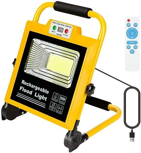 Luz de Trabajo 60W foco led 6000 lúmenes, proyector LED IP65, giratorio con soporte, reflector de recarga de brillo ajustable, trabajo de campamento, ...