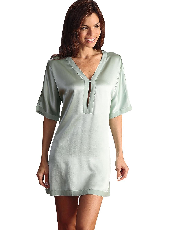 Schweitzer Linen Brigitte Chemise, Sea Green (Small) at Amazon Womens Clothing store: