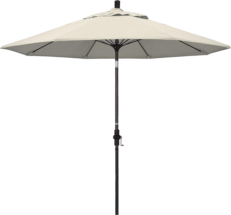 California Umbrella GSCUF908117-F22 9' Round Aluminum Pole Fiberglass Rib Market Patio Umbrella, Bronze, Antique Beige