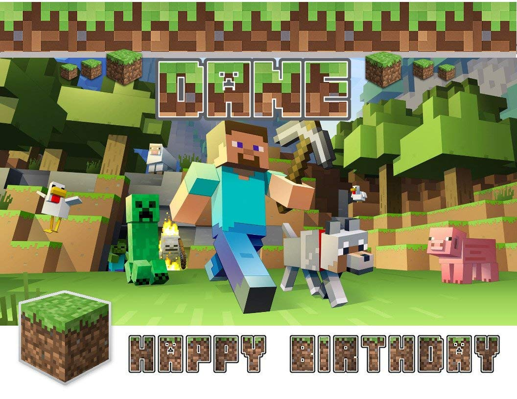 Minecraft Happy Birthday Steve Wolf Creeper Edible Cake Topper Image ABPID00577 - 1/2 sheet