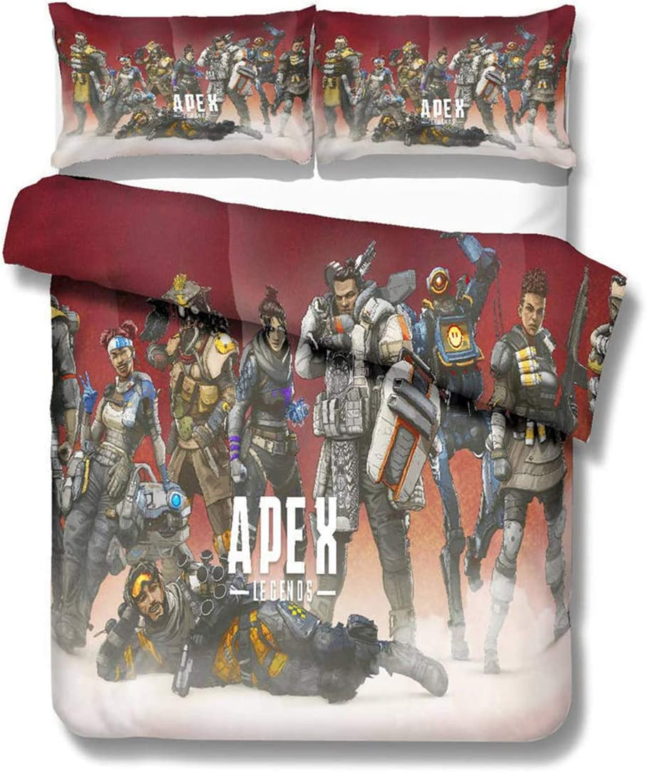 ROMOO Duvet Cover Set 3D APEX Legends Printing Microfiber Hypoallergenic beding Set for Kids Teens and Adults Art beding Collection,Twin//Full//Queen//King