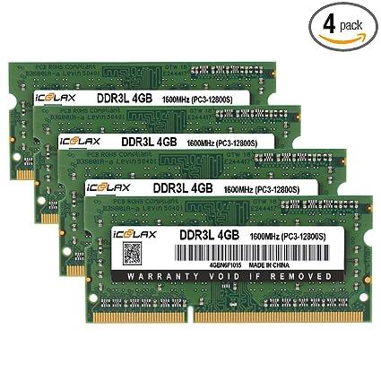 Icoolax 16gb Kit 4x4gb Pc3 12800 Ddr3 Ddr3l 1600mhz Sodimm 204 Pin