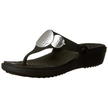 bd4eff696f25f4 Crocs Women s Sanrah Embellished Flip Wedge Sandal