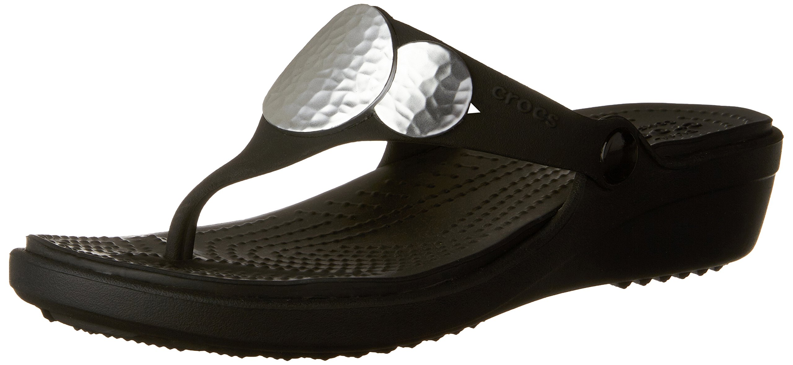 crocs Women's Sanrah Embellished Flip Wedge Sandal, Black/Silver Metallic, 8 M US