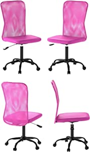 Ergonomic Cute Mesh Office Chair, Armless Lumbar Support, Chic Modern Desk PC Chair Black, Mid Back Adjustable Swivel for Home Office Conference Study Room Mesh Office Chair - Pink - Set of 4