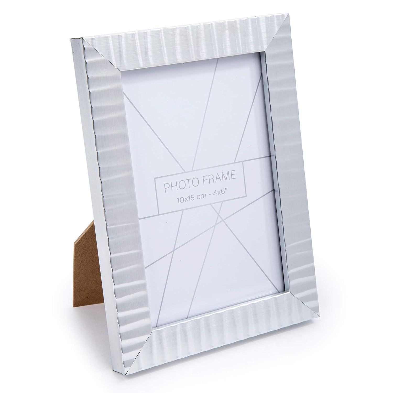 Metallic Black Truu Design Ridged Decorative Photo Frame 4 x 6 inches