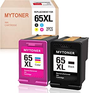 MYTONER Remanufactured Ink Cartridge Replacement for HP 65XL 65 XL High Yield Ink for HP Envy 5052 5055 5058 DeskJet 2622 3755 2624 2652 2655 3720 3752 3721 3722 3723 3758 Printer(Black Tri-color,2PK)