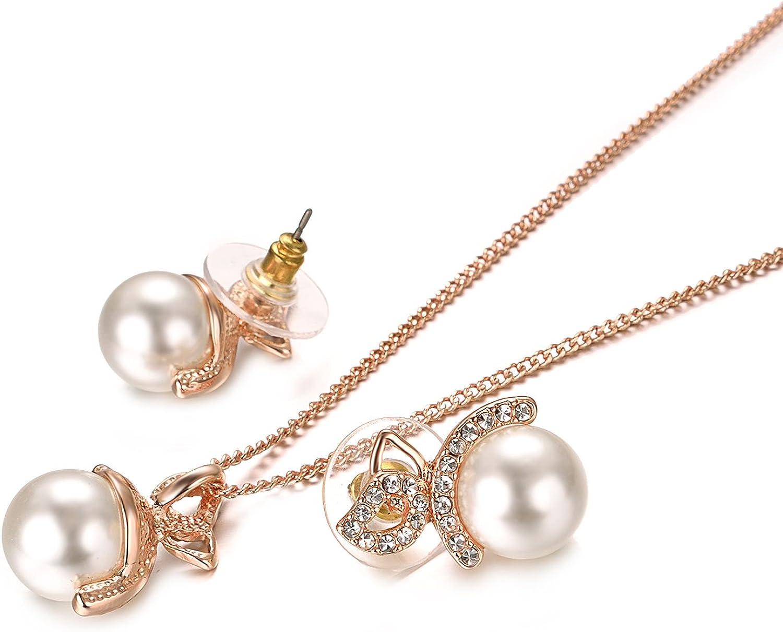Yoursfs Bague torsad/ée Cristal dAutriche et Bijoux en Perles des Ensembles de Collier et Boucles doreilles plaqu/é Or 18 CT Blanc//Rose pour Femme
