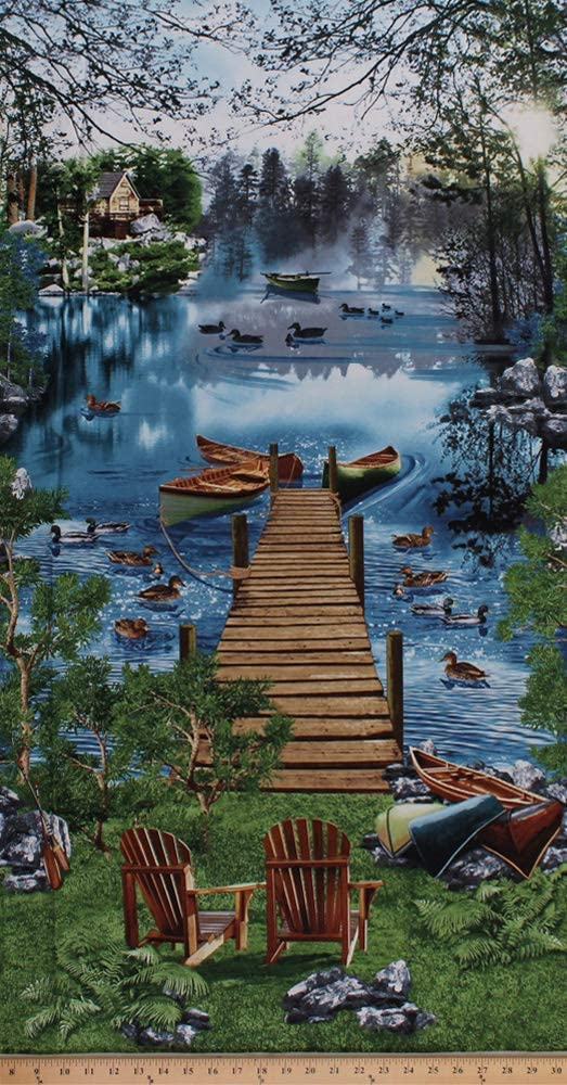 "23.5"" X 44"" Panel Scenic Lake Cabin Dock Canoes Canoeing Boats Ducks Nature Wildlife Northwoods Summer Vacation Cotton Fabric Panel (NATURE-C6402-LAKE)"