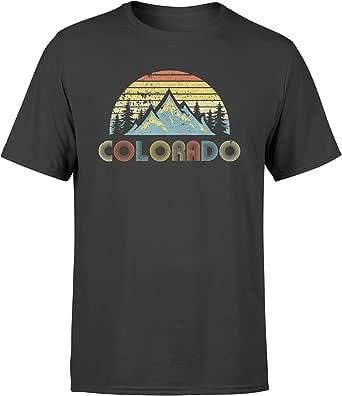 AMIROSSI Colorado Tshirt Retro - Vintage Mountains Nature Hiking - Standard T-Shirt