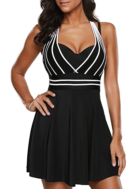 518ea4f6efe Crazycatz@ Womens Halter Neck Cutout Back Black Swimdress and Shorts:  Amazon.ca: Clothing & Accessories