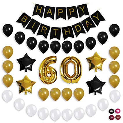 60th Birthday Decorations Balloon Banner Party Supplies Office Gold