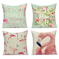 JuneJour Set of 4/6 Throw Cushion Cover Pillow Cases Decorative Polyester Linen Square Single-sided Printing Pillow Covers for Home Office Sofa Couch Car 45 * 45cm (Bird, 18 x 18 inches)