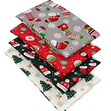Mini Christmas Stockings fabric Pack remnants patchwork bundle 100/%cotton