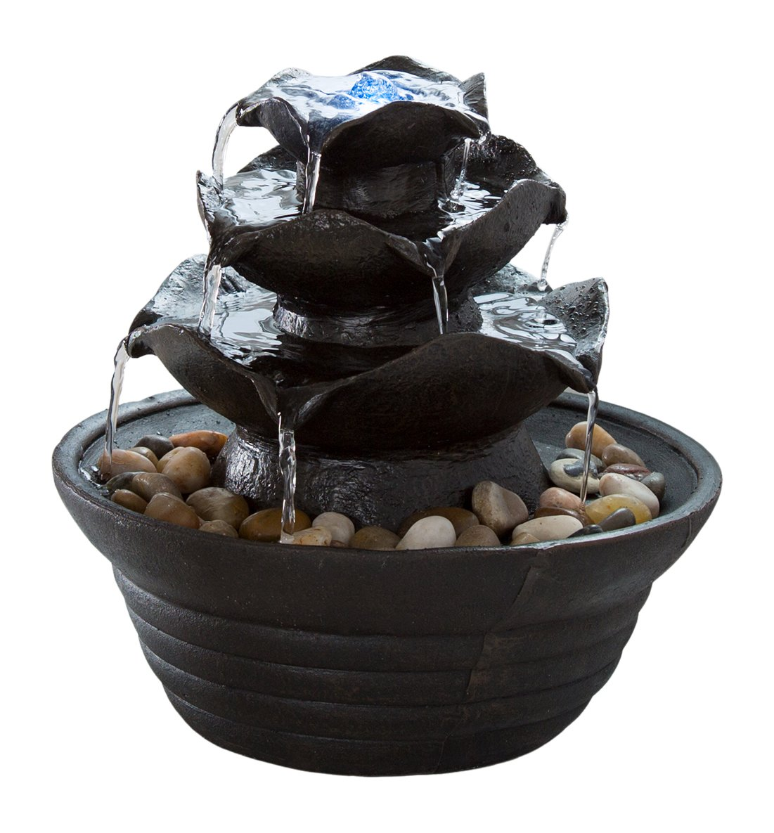 Pure Garden Indoor Water Fountain with LED Lights- Lighted Three Tier Soothing Cascading Tabletop Fountain with Rocks for Office and Home Décor